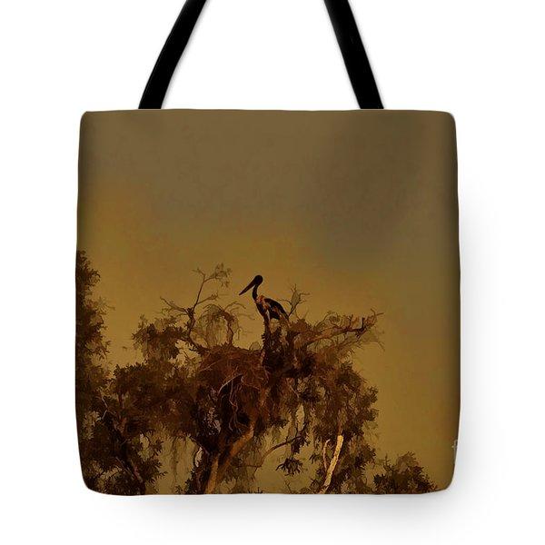 Nesting Jabiru  Tote Bag by Douglas Barnard
