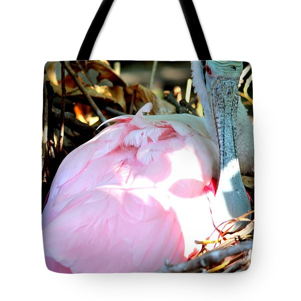 Nesting Spoonbill Tote Bag by Carol Groenen