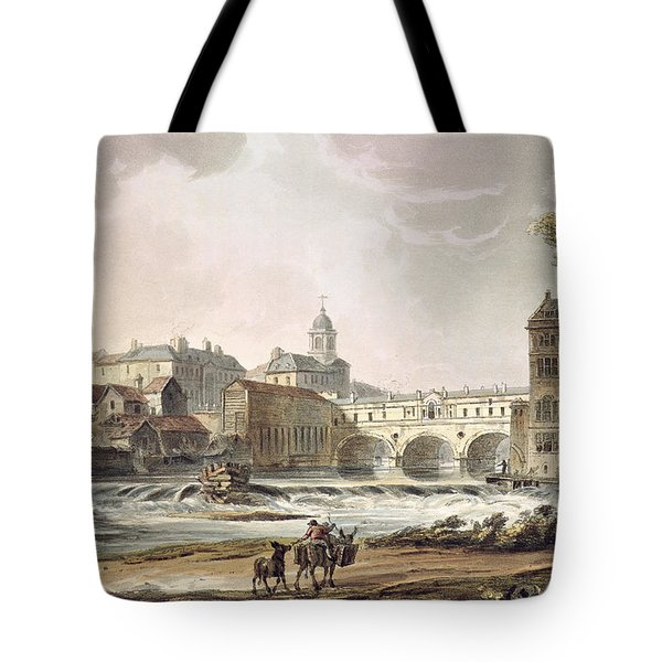 New Bridge, From Bath Illustrated Tote Bag by John Claude Nattes