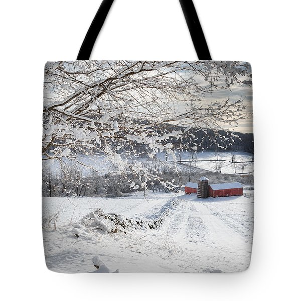 New England Winter Farms Tote Bag by Bill  Wakeley