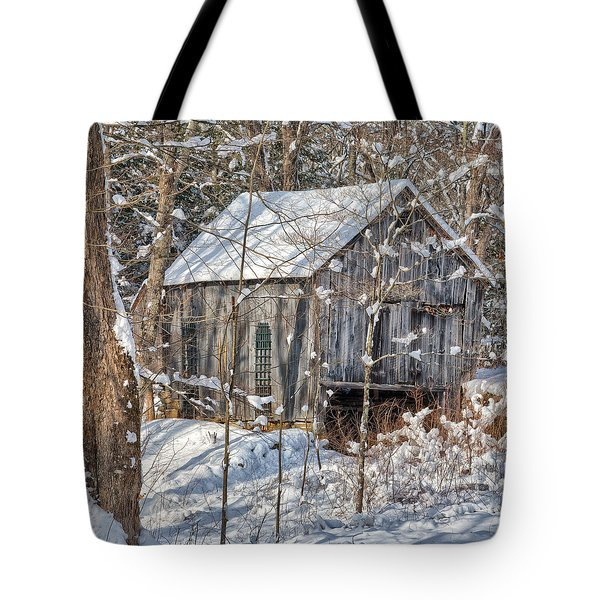 New England Winter Woods Square Tote Bag by Bill  Wakeley