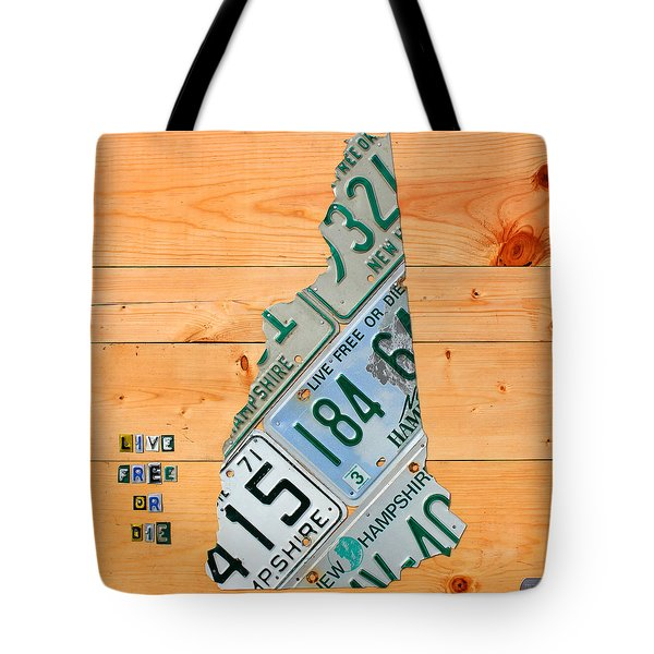 New Hampshire License Plate Map Live Free or Die Old Man of the Mountain Tote Bag by Design Turnpike