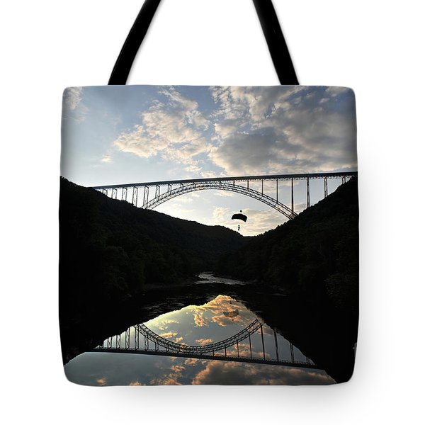 New River Bridge -  Base Jumper Tote Bag by Dan Friend