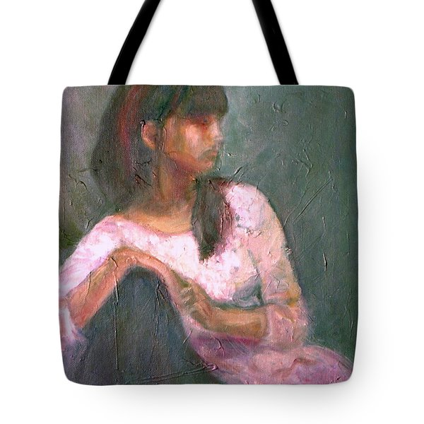 New Year's Blossom - Textural Original Oil On Canvas Portrait Tote Bag by Quin Sweetman