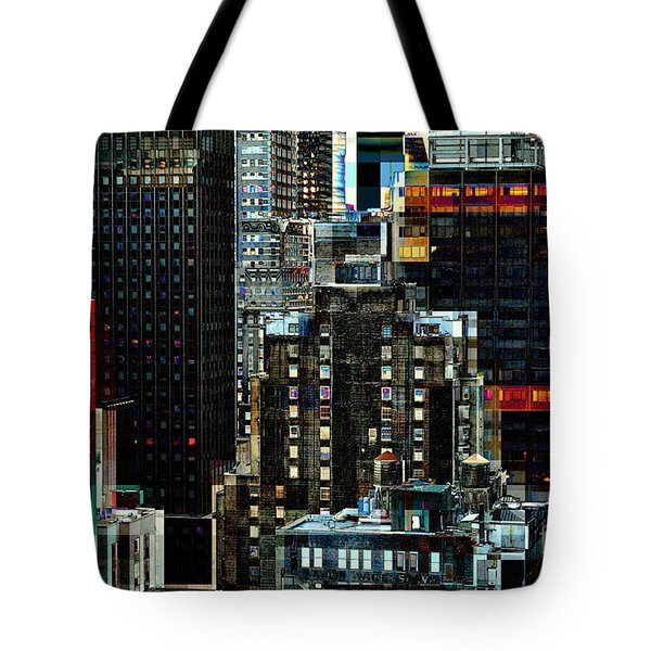 New York At Night - Skyscrapers And Office Windows Tote Bag by Miriam Danar
