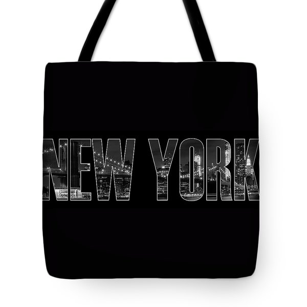 NEW YORK CITY Brooklyn Bridge bw Tote Bag by Melanie Viola