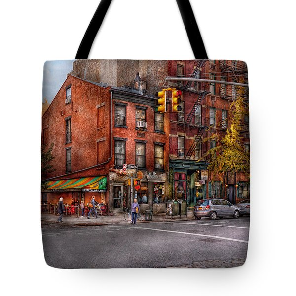 New York - City - Corner Of One Way And This Way Tote Bag by Mike Savad