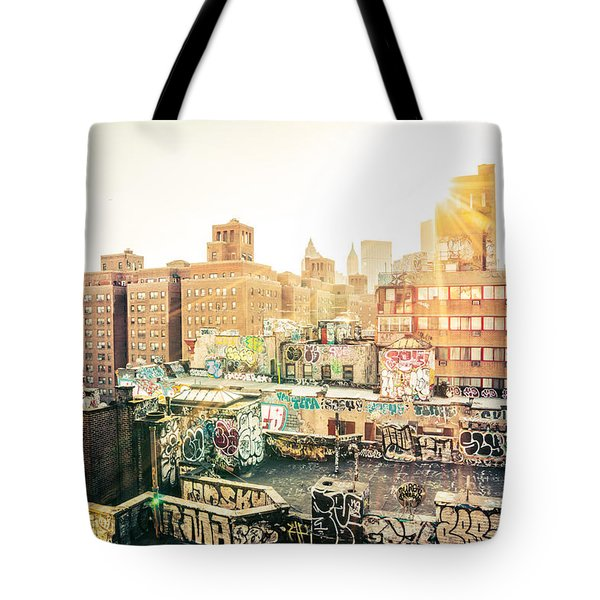 New York City - Graffiti Rooftops Of Chinatown At Sunset Tote Bag by Vivienne Gucwa