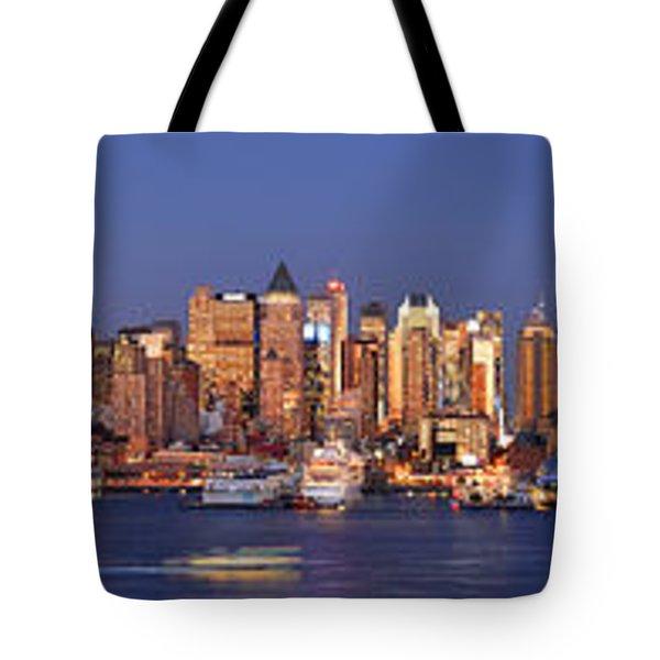 New York City Midtown Manhattan At Dusk Tote Bag by Jon Holiday