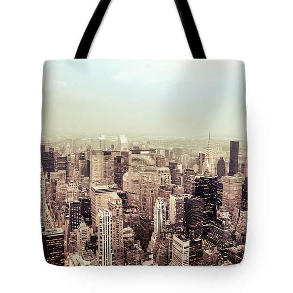 New York City - Skyline on a Hazy Evening Tote Bag by Vivienne Gucwa