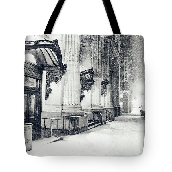 New York City - Snowy Winter Night Tote Bag by Vivienne Gucwa