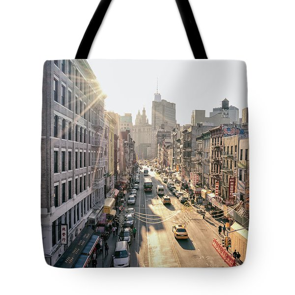 New York City - Sunset Above Chinatown Tote Bag by Vivienne Gucwa
