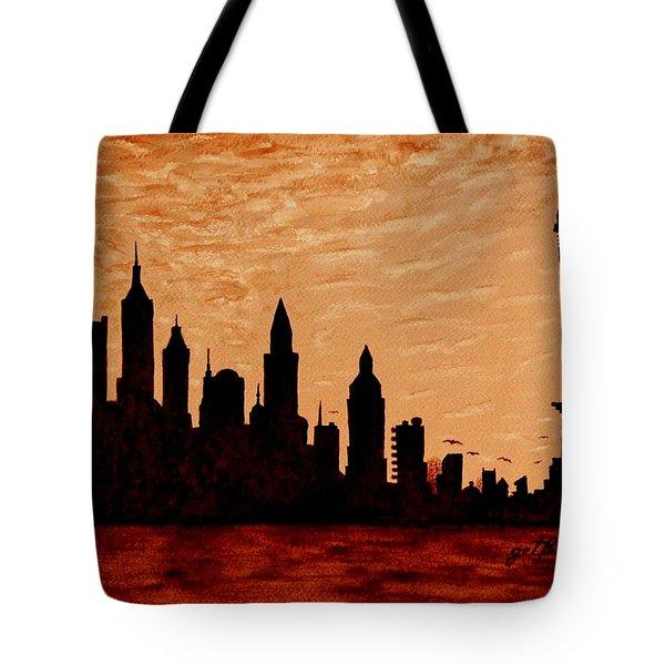 New York City Sunset Silhouette Tote Bag by Georgeta  Blanaru