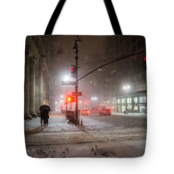 New York City Winter - Romance In The Snow Tote Bag by Vivienne Gucwa