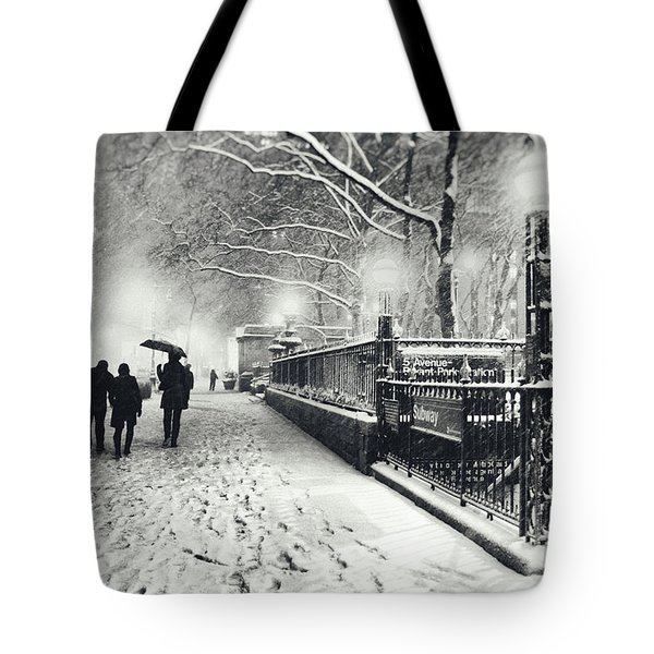 New York City - Winter - Snow At Night Tote Bag by Vivienne Gucwa