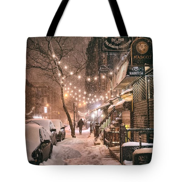 New York City - Winter Snow Scene - East Village Tote Bag by Vivienne Gucwa