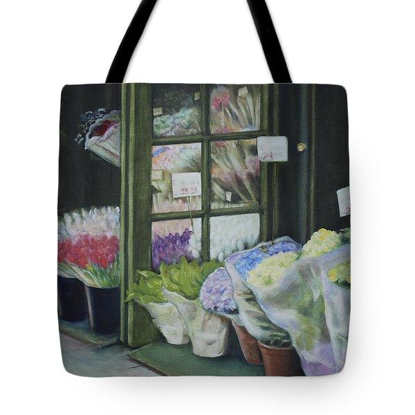 New York Flower Shop Tote Bag by Rebecca Matthews
