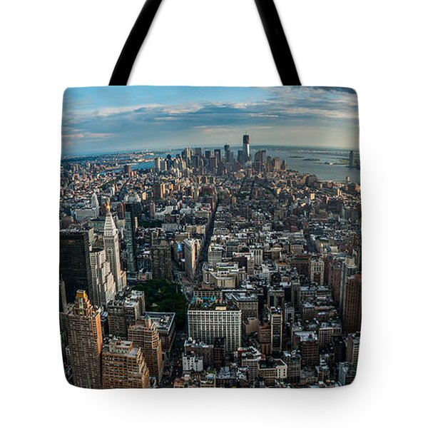 New York from a birds eyes - fisheye Tote Bag by Hannes Cmarits