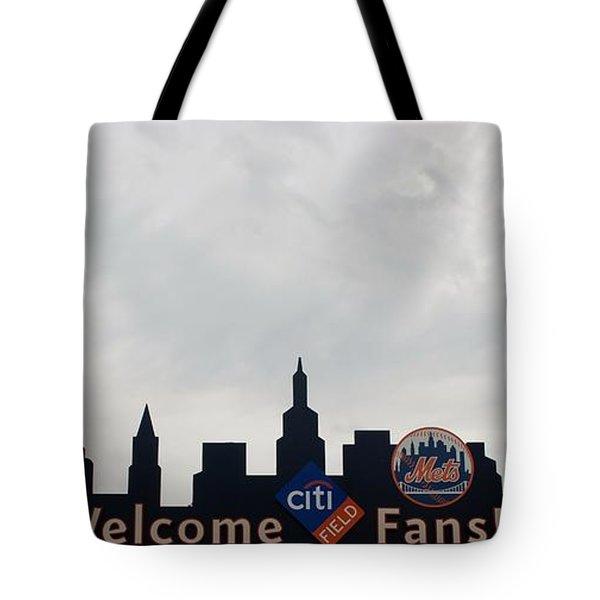 NEW YORK METS SKYLINE Tote Bag by ROB HANS