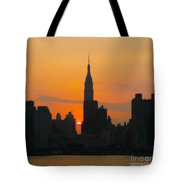 New York Skyline At Sunset Tote Bag by Avis  Noelle