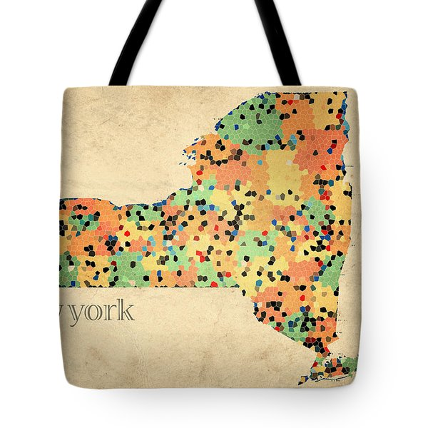 New York State Map Crystalized Counties on Worn Canvas by Design Turnpike Tote Bag by Design Turnpike