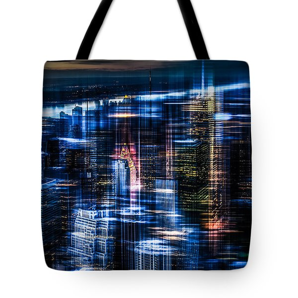 New York - The Night Awakes - Blue I Tote Bag by Hannes Cmarits