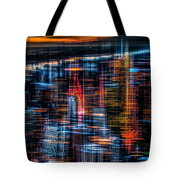 New York- The Night Awakes - Orange Tote Bag by Hannes Cmarits