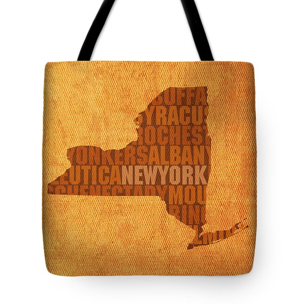 New York Word Art State Map On Canvas Tote Bag by Design Turnpike