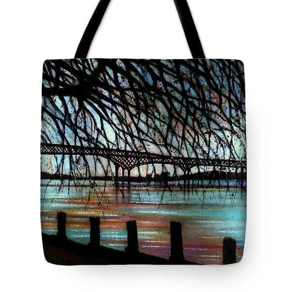 Newburgh - Beacon Bridge Night Sky Tote Bag by Janine Riley