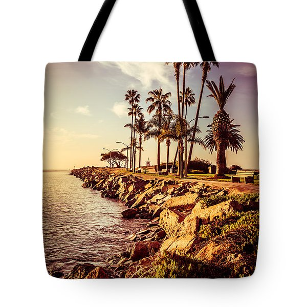 Newport Beach Jetty Vintage Filter Picture Tote Bag by Paul Velgos