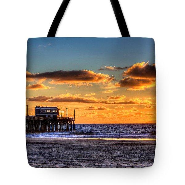 Newport Beach Pier - Sunset Tote Bag by Jim Carrell