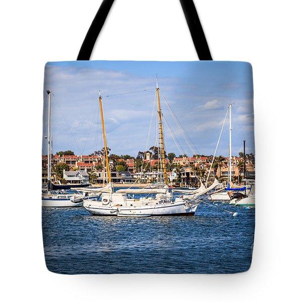 Newport Harbor Boats In Orange County California Tote Bag by Paul Velgos