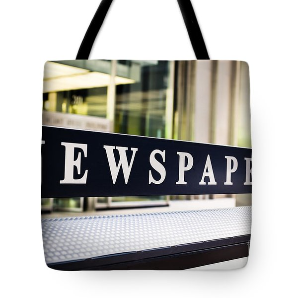 Newspapers Stand Sign In Chicago Tote Bag by Paul Velgos