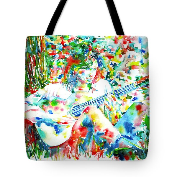 Nick Drake Playing The Guitar Under A Tree Watercolor Portrait Tote Bag by Fabrizio Cassetta