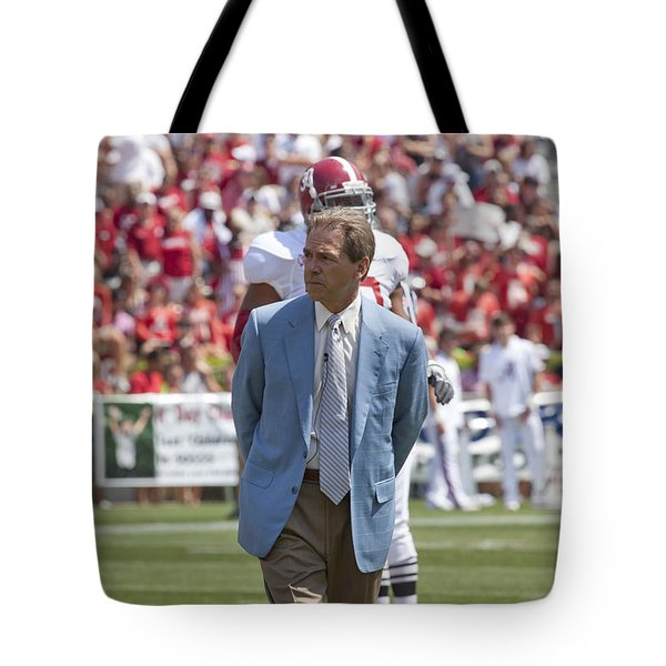 Nick Saban Head Football Coach Of Alabama Tote Bag by Mountain Dreams