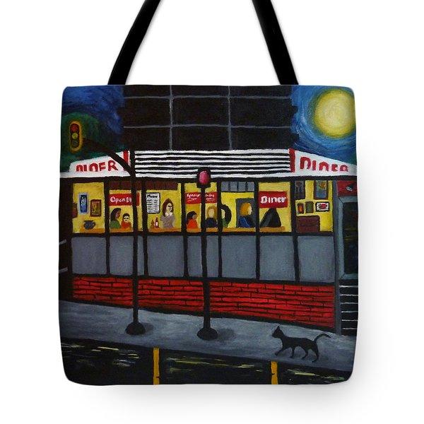 Night at an Arlington Diner Tote Bag by Victoria Lakes