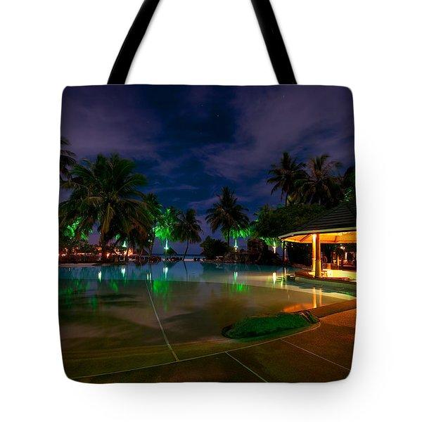Night At Tropical Resort 1 Tote Bag by Jenny Rainbow