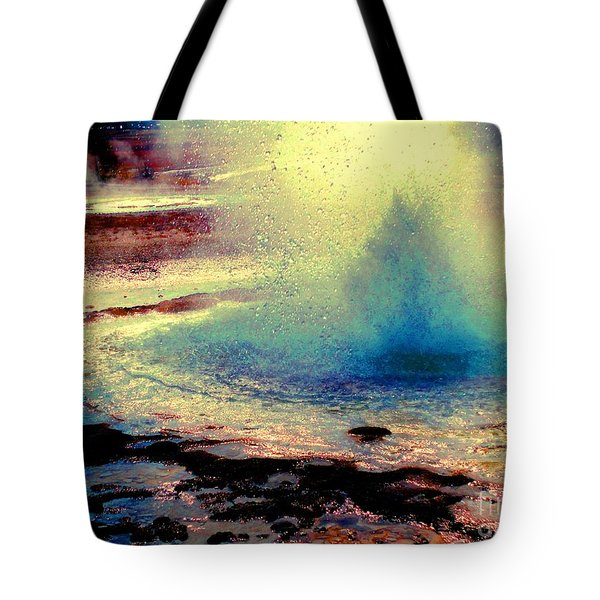Night Falls On The Yellowstone Tote Bag by Ann Johndro-Collins