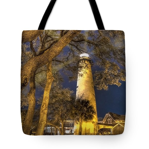 Night Lighthouse Tote Bag by Debra and Dave Vanderlaan