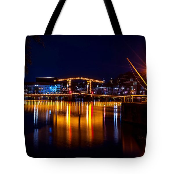 Night Lights On The Amsterdam Canals 1. Holland Tote Bag by Jenny Rainbow