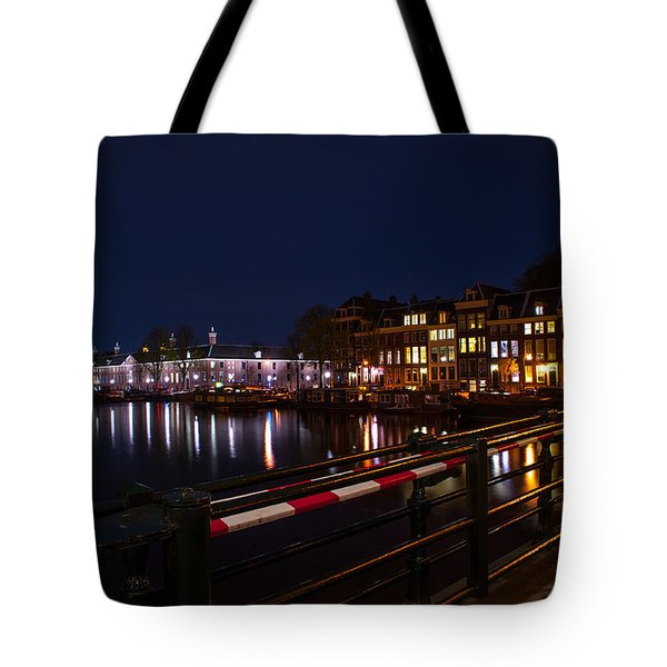 Night Lights On The Amsterdam Canals 5. Holland Tote Bag by Jenny Rainbow