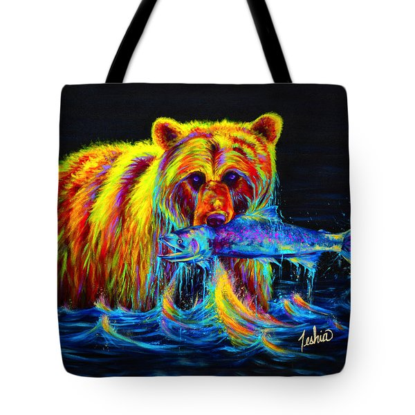Night of the Grizzly Tote Bag by Teshia Art