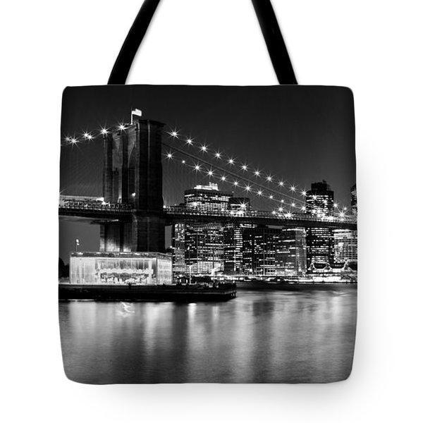 Night Skyline Manhattan Brooklyn Bridge Bw Tote Bag by Melanie Viola