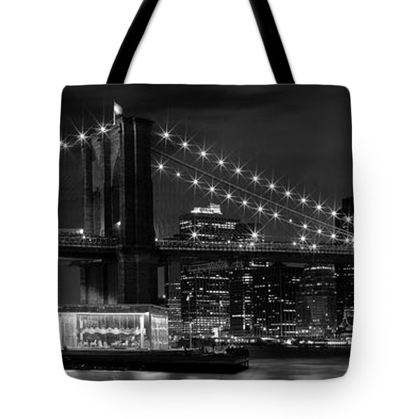Night-skyline New York City Bw Tote Bag by Melanie Viola