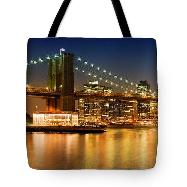 Night-skyline New York City Tote Bag by Melanie Viola