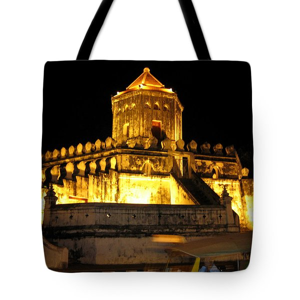 Night Temple Tote Bag by Oliver Johnston