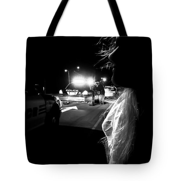Night Traffic Stop Three Tote Bag by Bob Orsillo