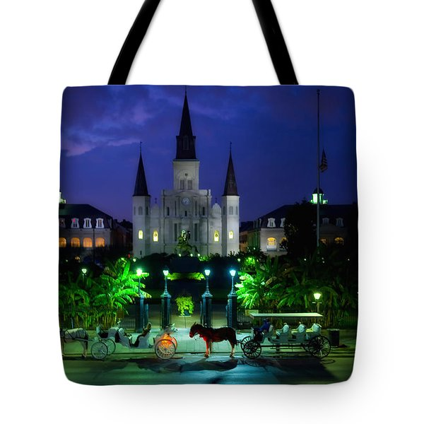 Nighttime Over Jackson Square In New Orleans Tote Bag by Mountain Dreams