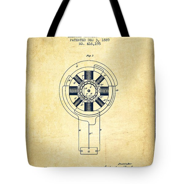 Nikola Tesla Patent Drawing From 1889 - Vintage Tote Bag by Aged Pixel