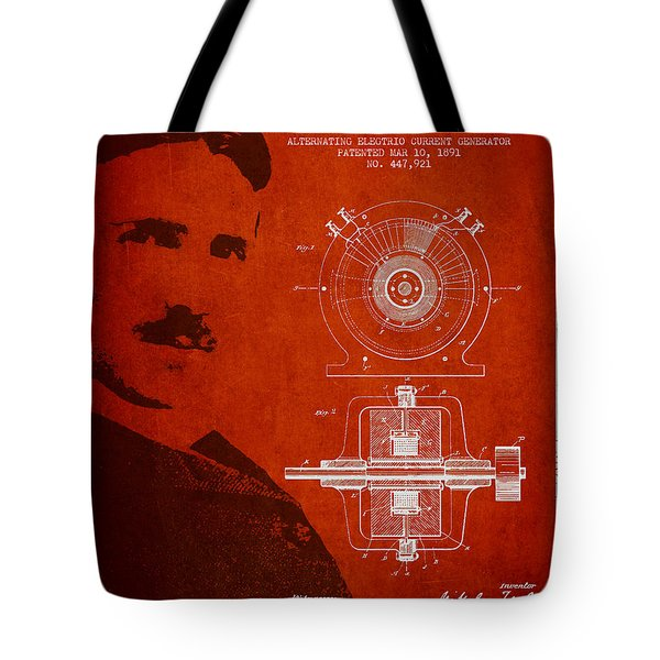 Nikola Tesla Patent from 1891 Tote Bag by Aged Pixel